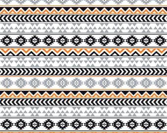 Gray black orange and white tribal pattern craft  vinyl sheet - HTV or Adhesive Vinyl -  Aztec Peruvian pattern grey Halloween HTV919