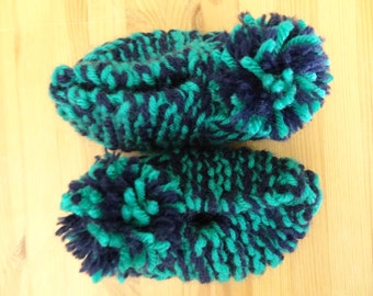 Navy Blue and Turquoise Kid's Handmade Knitted Slippers for ages 18 months - 3 years with Pom Poms