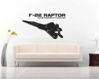 F-22 Raptor Air Superiority Fighter Jet Wall Decal Us Military Wall Sticker
