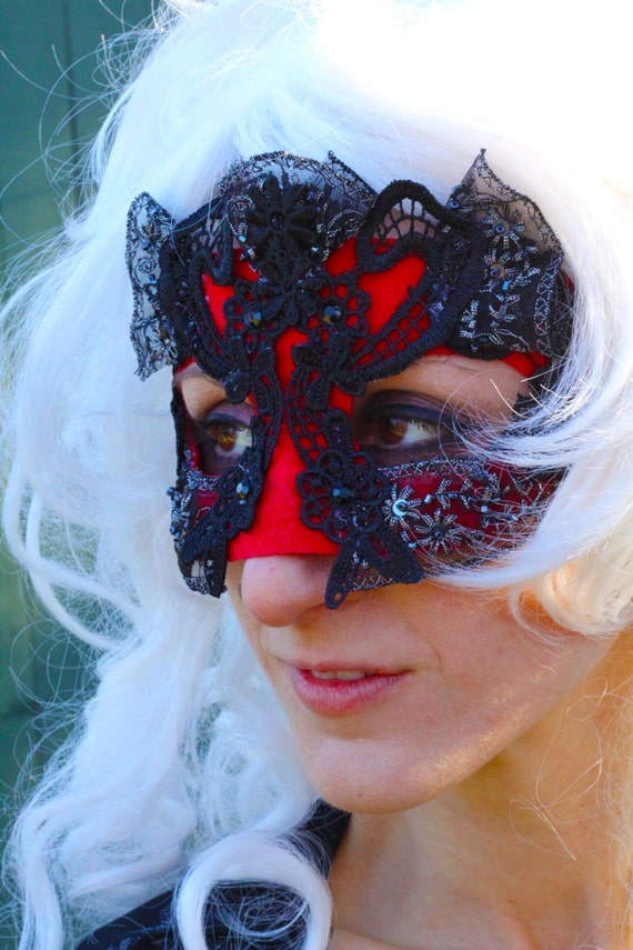 Black and red lace masquerade masks