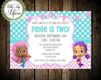 Bubble Guppies Invitation, Bubble Guppies Party, Bubble Guppies Birthday Invitation, Printable, Girl, Digital Invite