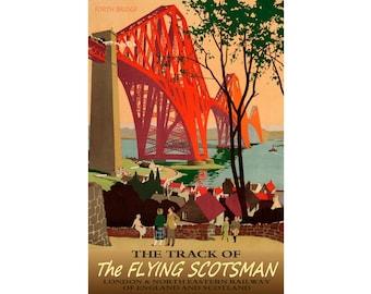 "FLYING SCOTSMAN -English Railroad Travel Tourism Poster -in 12x18"", 20x30"" or 24x36"" sizes- Forth Bridge Scotland London Art Print 057"