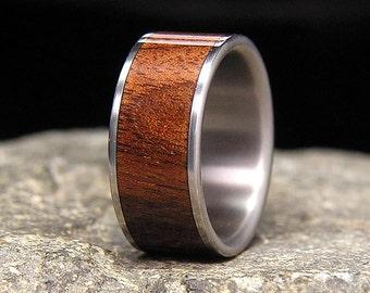 Kentucky Black Walnut Wood Inlay Titanium Wedding Band or Ring