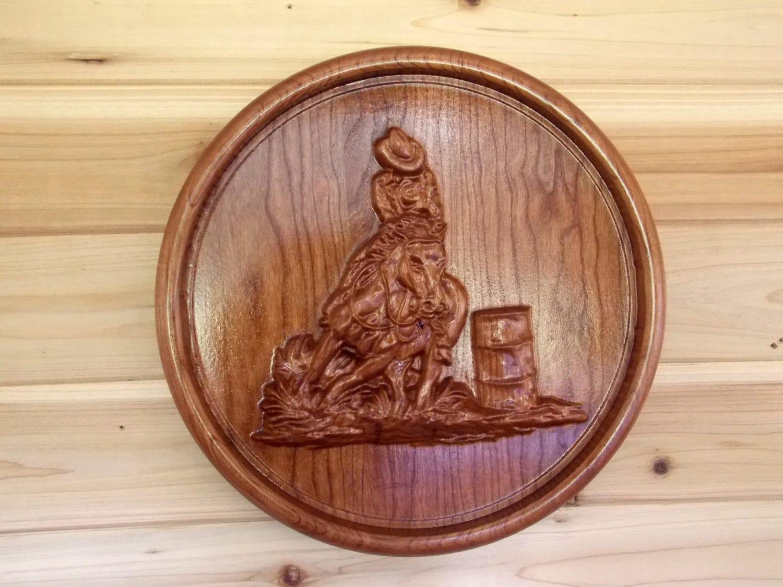 Barrel racing cowboy wood carving wall hanging western