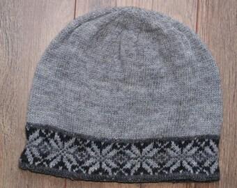Woolly Hat with Fair Isle Brim