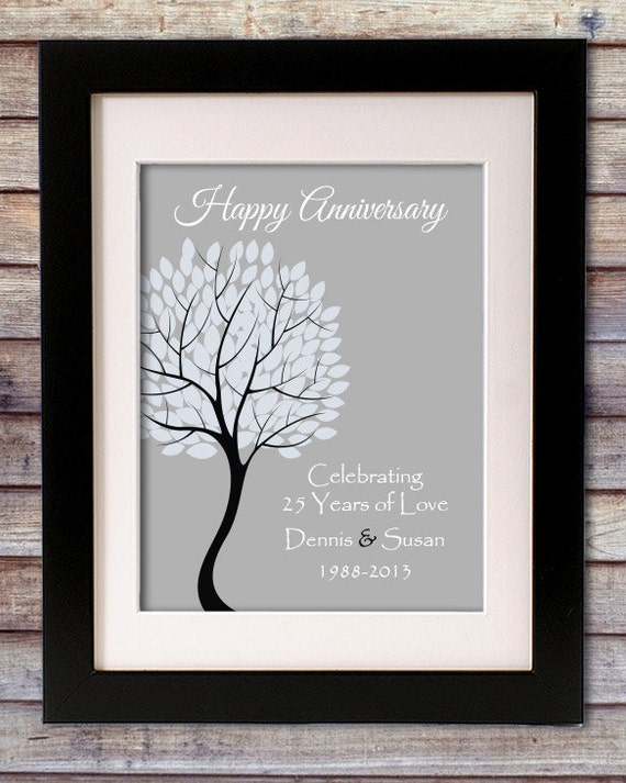 25th Wedding Gifts For Parents : 25th Anniversary Gift for Parents25th Silver Anniversary print ...