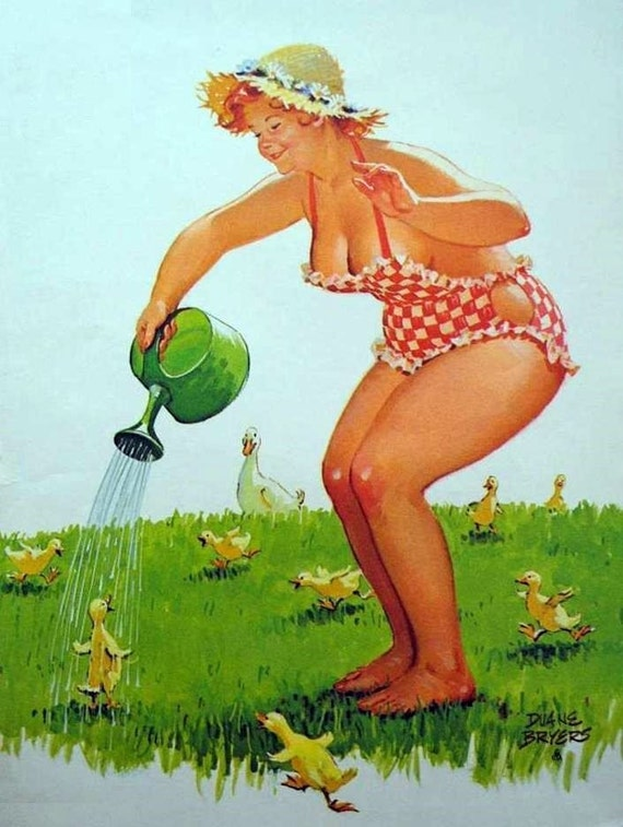 """Wall Art Print- reproduction d'art Pin-up Vintage Sexy Girl Vintage Sexy Plus la taille Pin-up girl Duane Bryers Hilda No.216 Imprimer 8 x 10 """""""