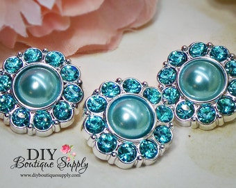 Aqua BLUE Rhinestone Pearl Buttons Pearl Rhinestone Buttons Scrapbooking Embellishments Flower Centers Craft Supplies 25mm 613035