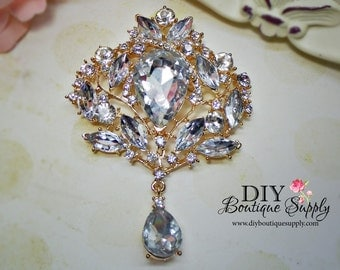 Huge Crystal Brooch Pin Large Gold Rhinestone Brooch Bouquet  Wedding Bridal Accessories Sash Pin Back 95mm 687380
