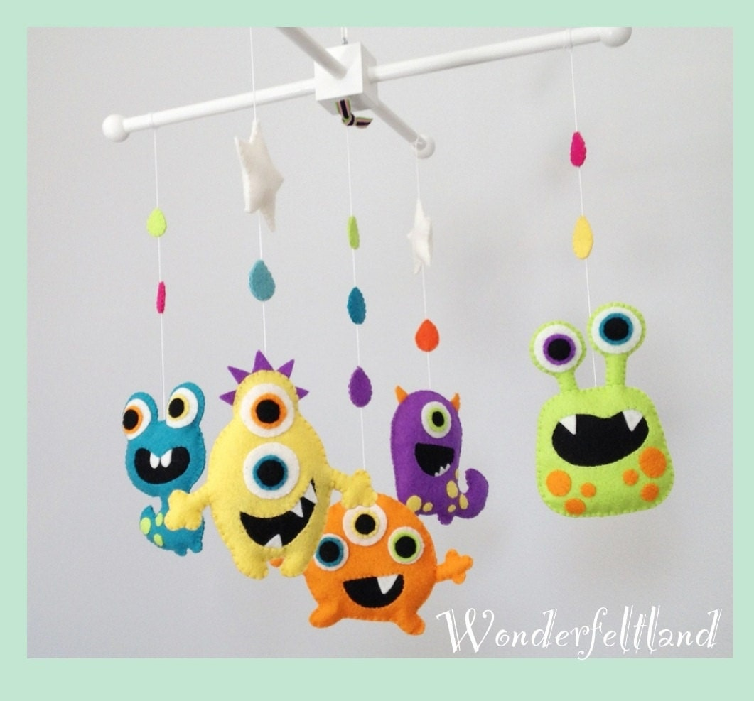 baby mobile crib baby mobile nursery decor cute monsters. Black Bedroom Furniture Sets. Home Design Ideas