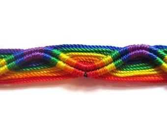 Gay / Rainbow Cotton Bracelet / Wristband / Wrist Tie - UK Based