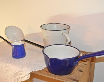 Blue Collection - Vintage Enamelware Saucepan with Spout, 2 Ladles, and Measuring Cup
