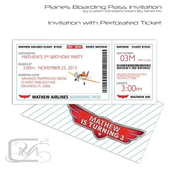 Airplane Ticket Boarding Pass Birthday Invitation: Planes Boarding Pass Birthday Invitation 25 By