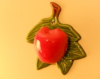 Treasure Craft Bright Red Apple Wall Pocket
