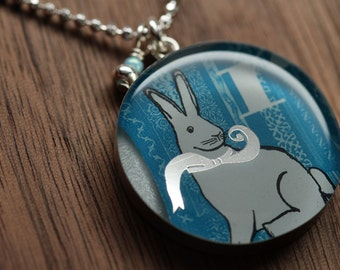 Starbucks White Rabbit necklace in sterling silver, resin and diamond cut sterling silver chain. Made from recycled, upcycled  gift cards.