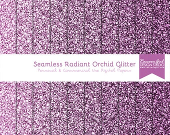 50% OFF Seamless Radiant Orchid Glitter Digital Paper Set - Personal & Commercial Use