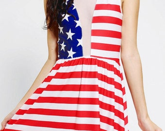 Super Cute Stars And Stripes American Flag Skater Dress!