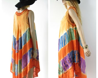 TAKE 40% OFF Tie Dye Embroidered FESTIVAL Bohemian Ethnic Tent Dress Free Size