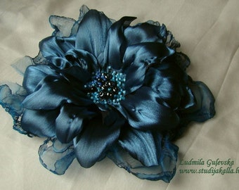 Handmade grey-blue organza flower brooch, flower clip & pin