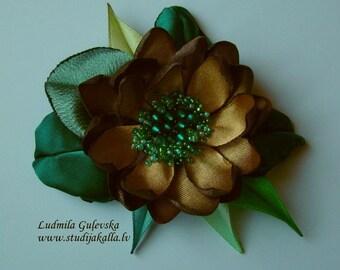 Handmade golden-brown-green satin flower brooch, flower clip & pin, embroidered flower