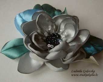 Handmade silver gray satin flower brooch, flower clip & pin, embroidered flower