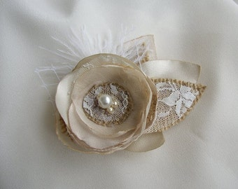 Small Rustic Hair Flower - Gold Champagne Burlap Hairpiece  - Bridal Fascinator - Burlap Lace Wedding - Small Hair Clip - Flower Girl Hair