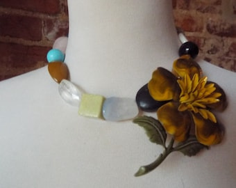 Colorful Statement Necklace with Mustard Yellow Vintage Flower Brooch