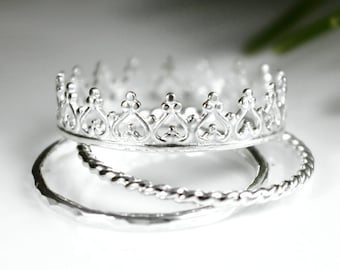 SALE - Princess Crown Ring Tiara Ring Stacking Set, Silver Ring Set