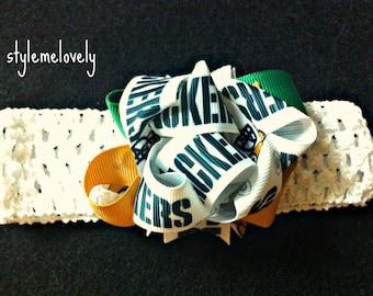 Green Bay Packers Baby Girl Bow Crocheted Headband