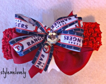 Texas Rangers Baby Girl Boutique Bow Crocheted Headband