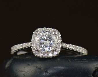 Georgia - Diamond Engagement Ring in White Gold, Round Brilliant Cut Center in Cushion Halo, Prong Set Accent Diamonds, Free Shipping