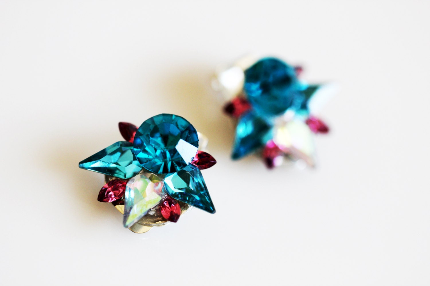 clip on earrings kids blue crystal by icrystalcravingsi on etsy. Black Bedroom Furniture Sets. Home Design Ideas