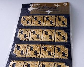 Vintage Walco Goldarama Gold Embossed Die Cut Squares Paper Scraps One Package of 16