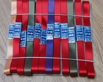 Rainbow Ribbon with Fused Cut Edge Acetate Ribbon. Set of 12 Ribbons, Red, Olive, Purple, Gold