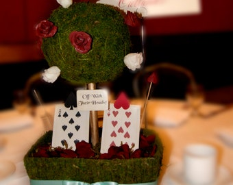Queen of Hearts Moss Centerpiece - Alice in Wonderland inspired