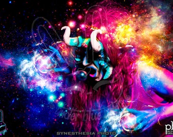 "Astral Rainbow"" Art print, Under Blue Lights, ink jet print on glossy paper synesthesia Photo photoset VII"