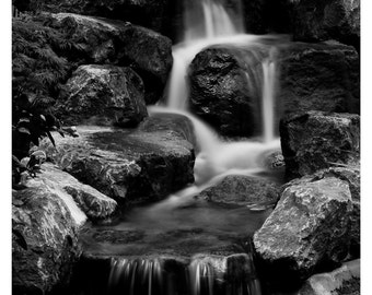 fine art photography, Waterfall photography, Black and White, 5x7,  8x10, Fine art print, Giclée print, Wall Decor, Home Decor, Waterfalls
