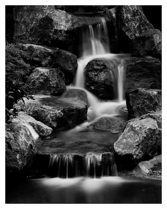 fine art photography, Waterfall photography, Black and White, 5x7,  8x10, Fine art print, Giclée print, Wall Decor, Home Decor, Waterfalls