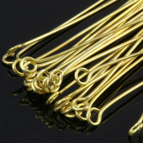Brass eye pin 200 pcs 25 mm 24 gauge( 0,55 mm ) raw brass (varnish)  EV2524-133