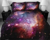 Galaxy quilt cover galaxy duvet cover galaxy sheets space sheets outer space bedding set bedspread with two matching pillow covers