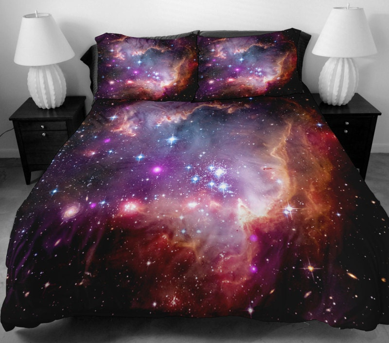Galaxy quilt cover galaxy duvet cover galaxy sheets by for Outer space fabric uk