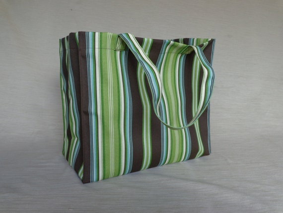 Canvas Shopping Tote - Re-Useable - striped - brown - green - turquoise - READY TO SHIP