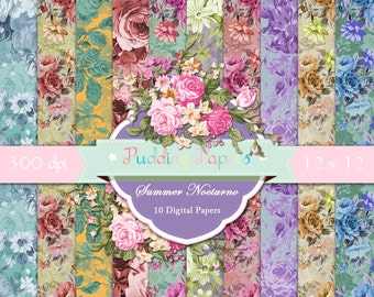 """Rose digital paper : """"Summer Nocturno"""" shabby chic digital paper with vintage roses, floral digital paper for scrapbooking, invites, cards"""