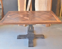 Walnut Parquet Table with Distressed Pedestal Base