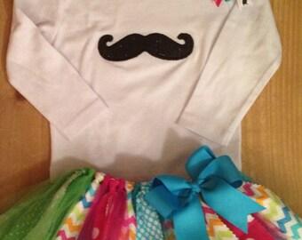 Bright Chevron and Polka Dots Mustache Tutu Outfit