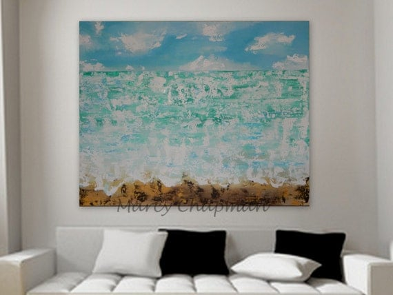 XL huge original modern Abstract Seascape Custom Order ocean view sea water