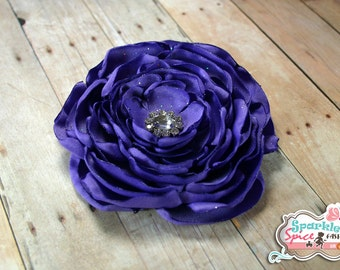 Large Purple Layered Satin Flower Hair Clip, Flower Fascinator, Wedding, Special Occasion, Baby, Purple Rose, Layered Petal Flower