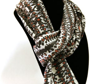 Algorithm Patterned Silk Scarf in Black, White, Red and Blue