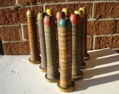 Old Wooden Rocket Shaped Ribbed Spindle Spool