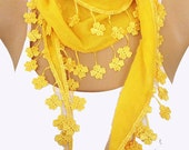 Yellow Lace Scarf -  Yellow  Scarf - Yellow Cotton Scarf - Wedding Accessories - Bridesmaid Gift - Woman Fashion  Accessories